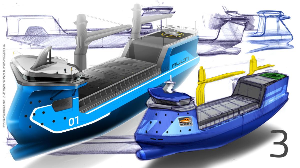TANKER design sketches by WERKEMOTION design studio for MULTI Engineering