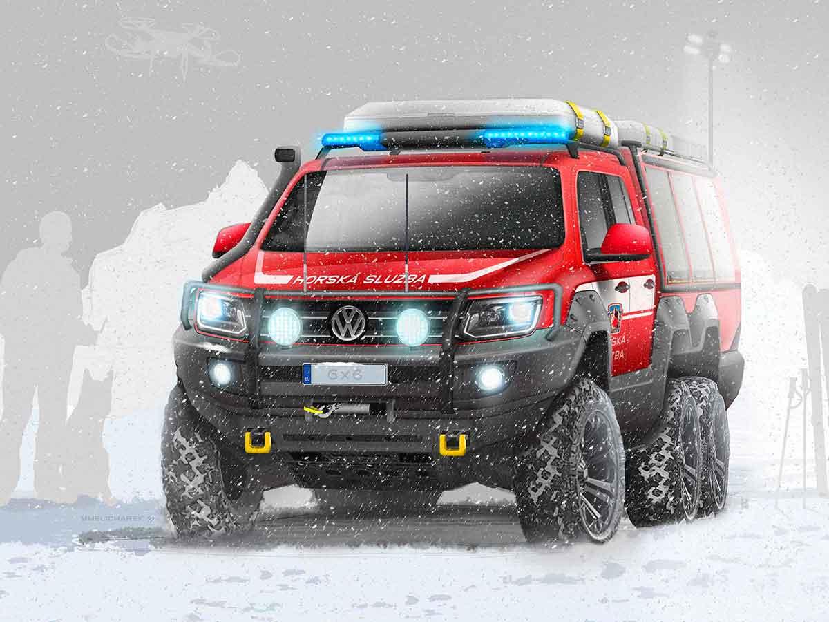 VW Amarok 6x6 Rescue Vehicle concept by WERKEMOTION